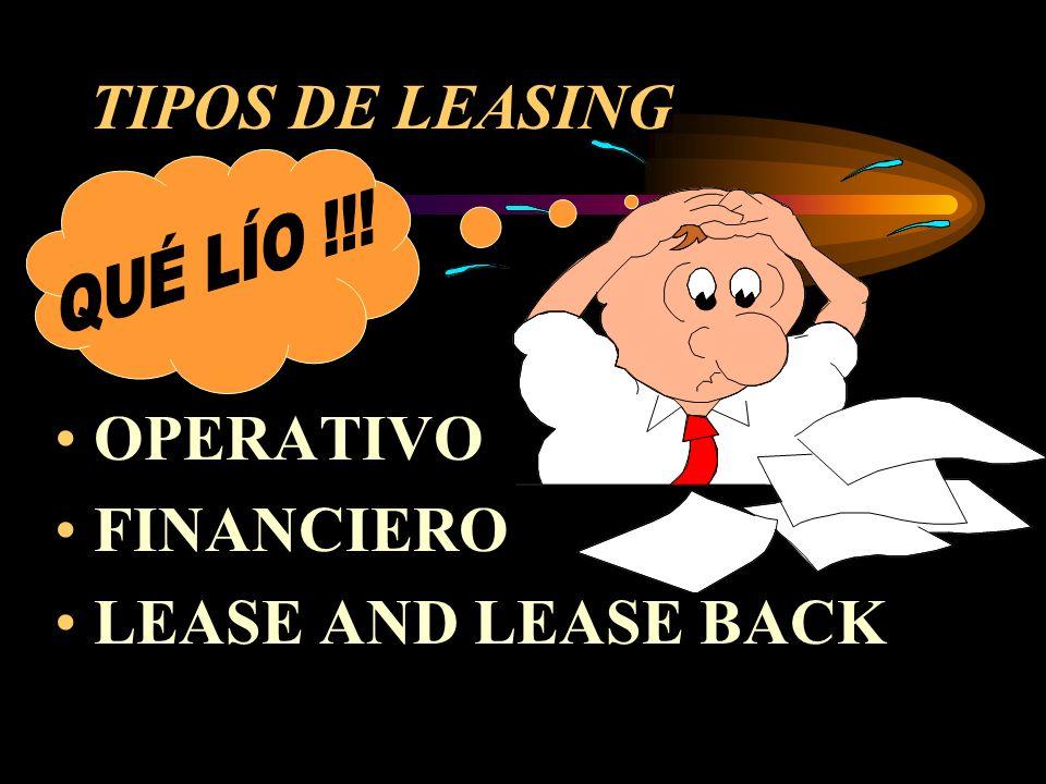 TIPOS DE LEASING QUÉ LÍO !!! OPERATIVO FINANCIERO LEASE AND LEASE BACK
