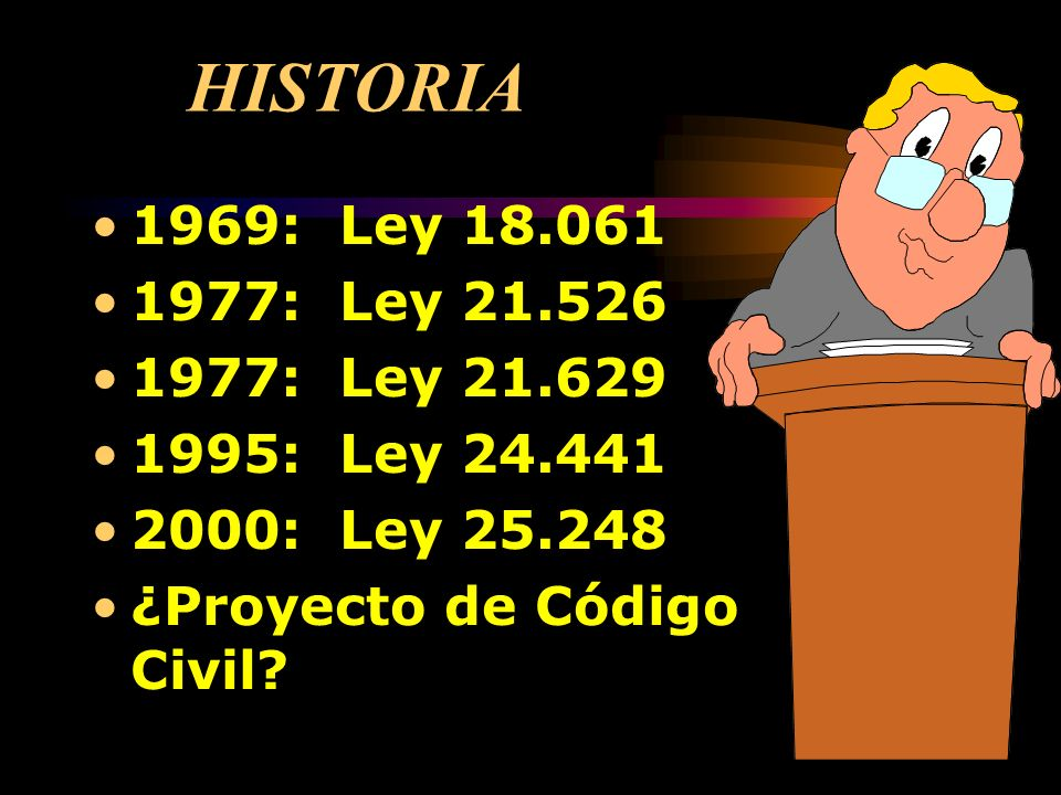 HISTORIA 1969: Ley 18.061 1977: Ley 21.526 1977: Ley 21.629