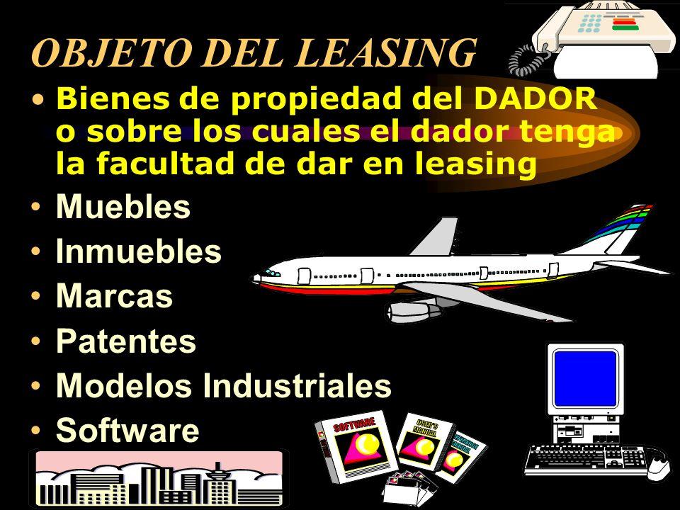 OBJETO DEL LEASING Muebles Inmuebles Marcas Patentes