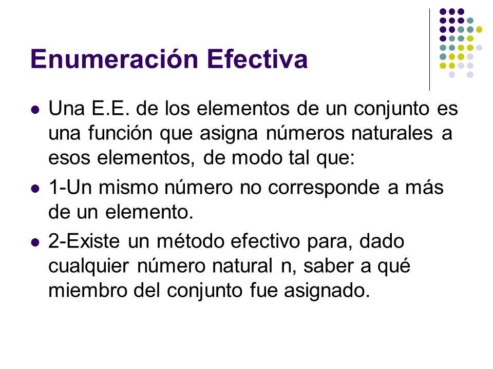 Enumeración Efectiva Una E.E. de los elementos de un conjunto es una función que asigna números naturales a esos elementos, de modo tal que: