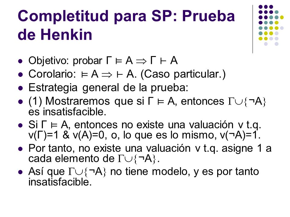 Completitud para SP: Prueba de Henkin