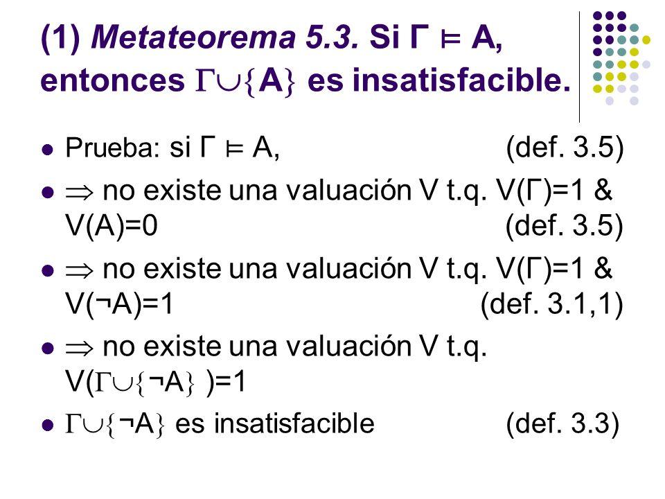 (1) Metateorema 5.3. Si Γ ⊨ A, entonces A es insatisfacible.