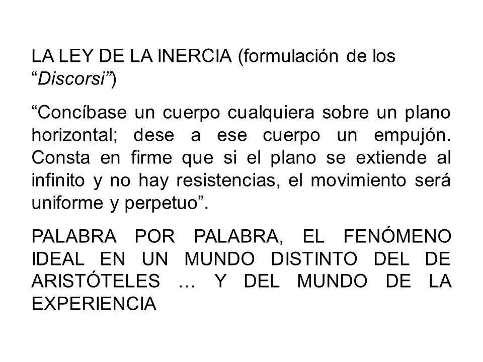 LA LEY DE LA INERCIA (formulación de los Discorsi )
