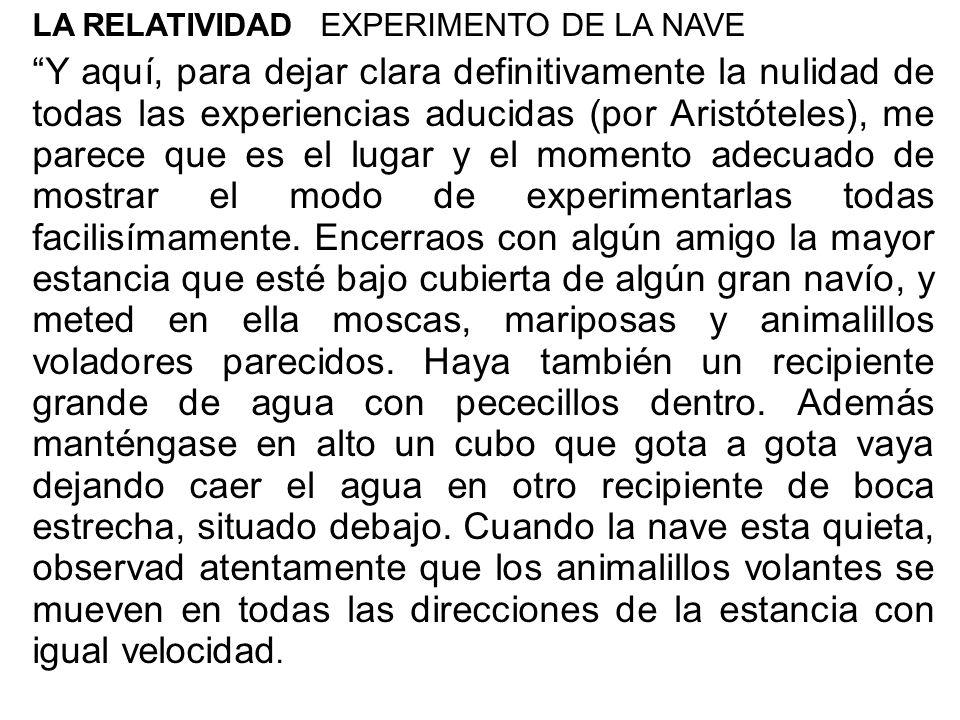 LA RELATIVIDAD EXPERIMENTO DE LA NAVE