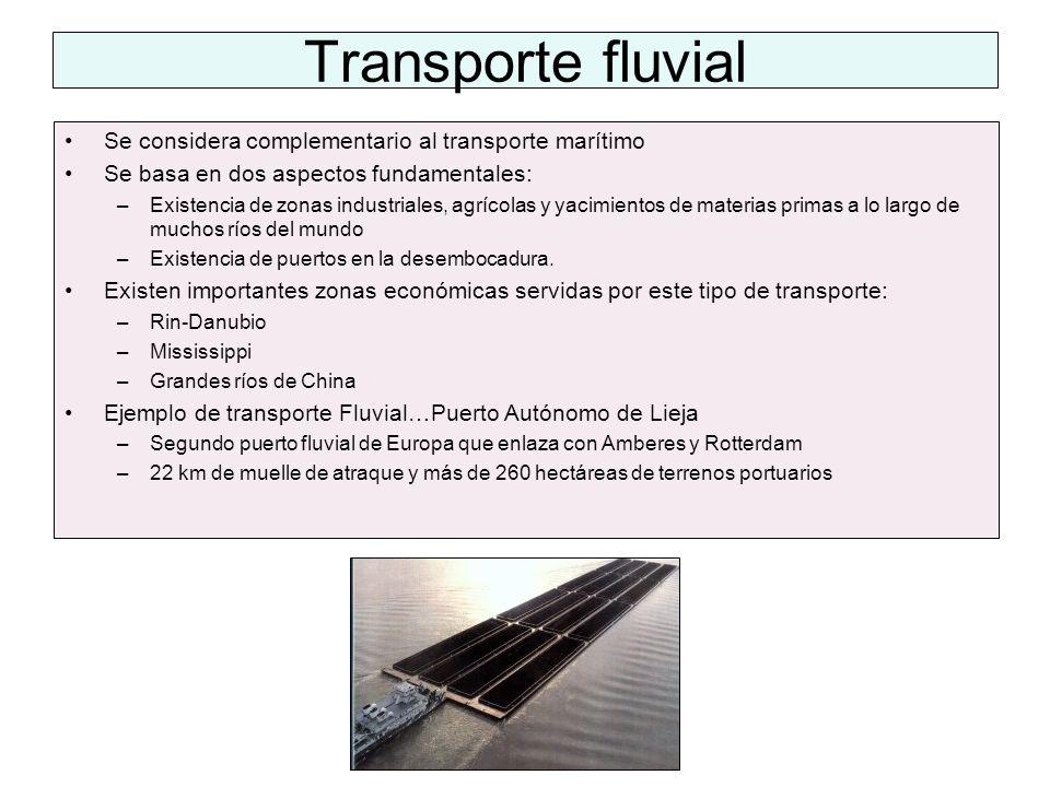 Transporte fluvial Se considera complementario al transporte marítimo