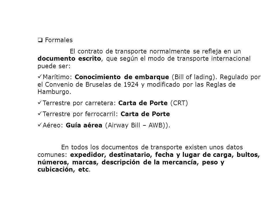 Formales El contrato de transporte normalmente se refleja en un documento escrito, que según el modo de transporte internacional puede ser: