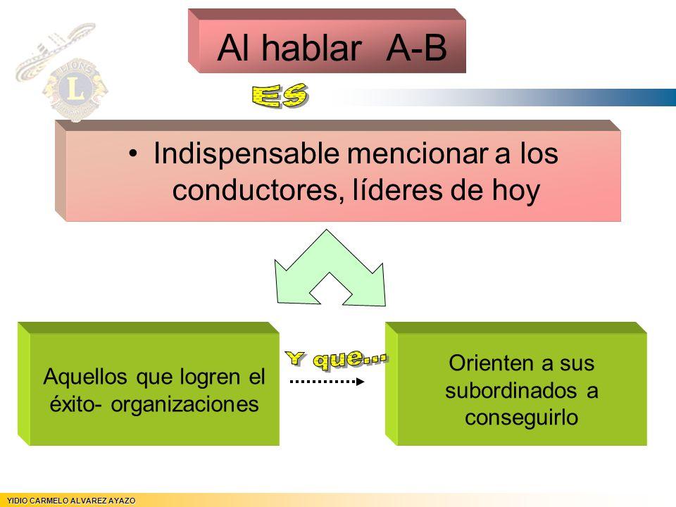 Al hablar A-B Es. Indispensable mencionar a los conductores, líderes de hoy. Aquellos que logren el éxito- organizaciones.