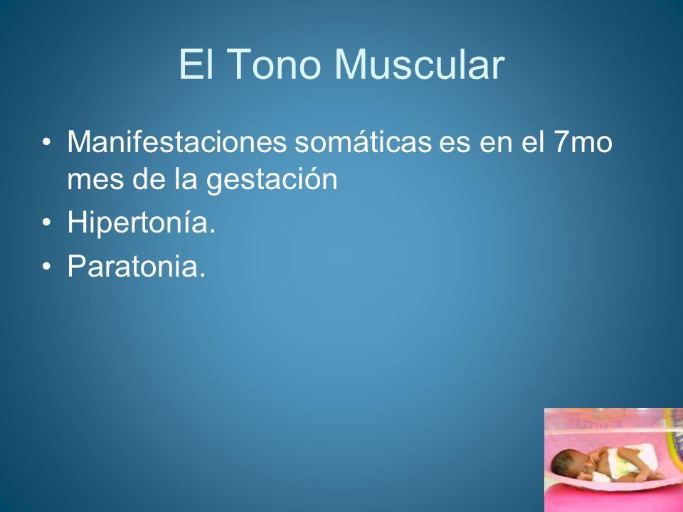 El Tono Muscular Manifestaciones somáticas es en el 7mo mes de la gestación Hipertonía. Paratonia.