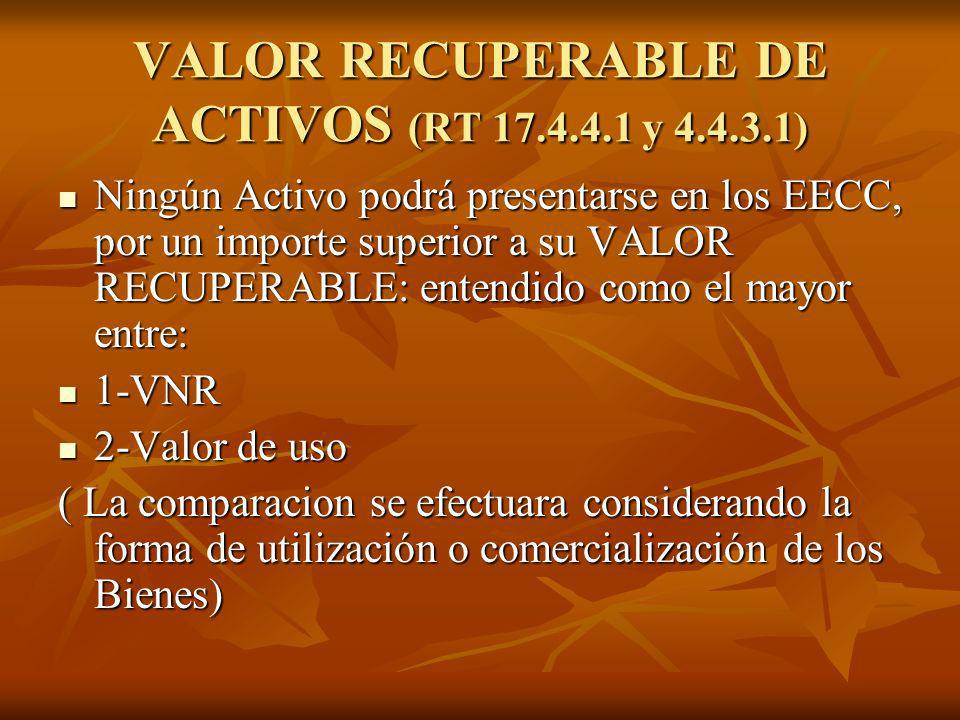 VALOR RECUPERABLE DE ACTIVOS (RT 17.4.4.1 y 4.4.3.1)