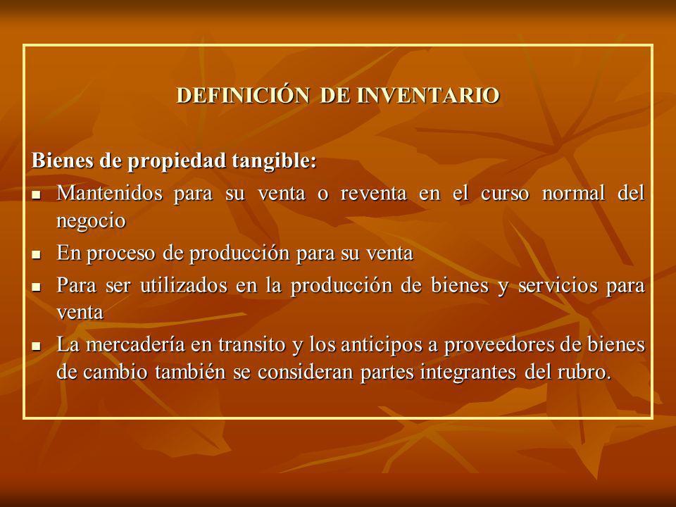 DEFINICIÓN DE INVENTARIO