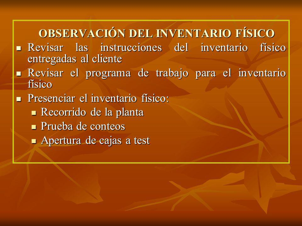 OBSERVACIÓN DEL INVENTARIO FÍSICO