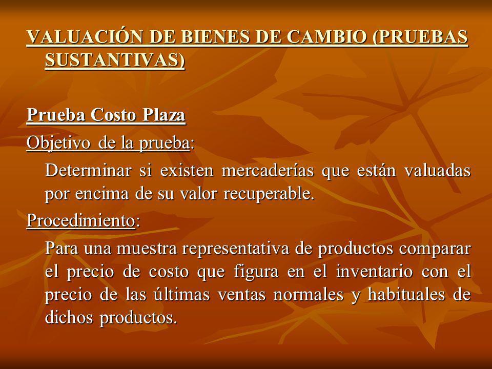 VALUACIÓN DE BIENES DE CAMBIO (PRUEBAS SUSTANTIVAS)