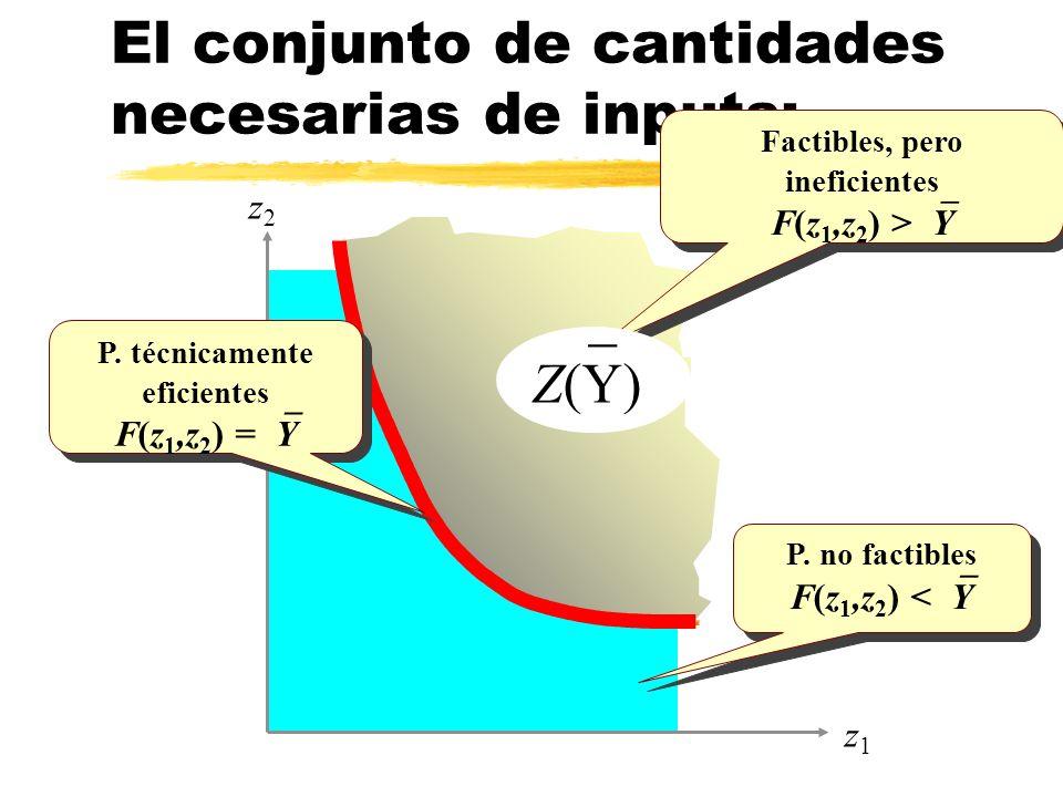 El conjunto de cantidades necesarias de inputs: