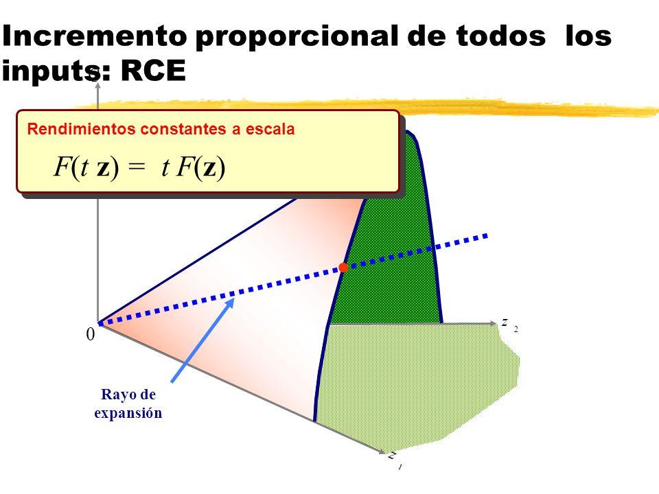 Incremento proporcional de todos los inputs: RCE