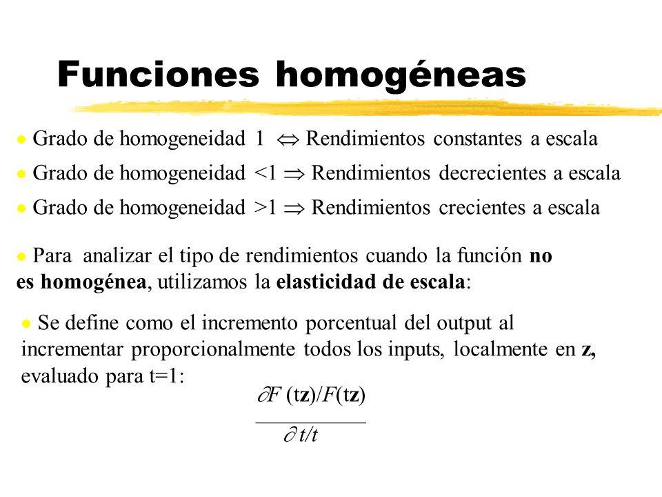 Funciones homogéneas Grado de homogeneidad 1  Rendimientos constantes a escala. Grado de homogeneidad <1  Rendimientos decrecientes a escala.