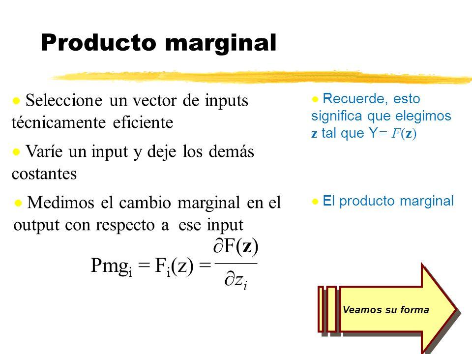 Producto marginal ¶F(z) —— Pmgi = Fi(z) = ¶zi