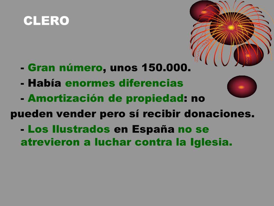CLERO - Gran número, unos 150.000. - Había enormes diferencias