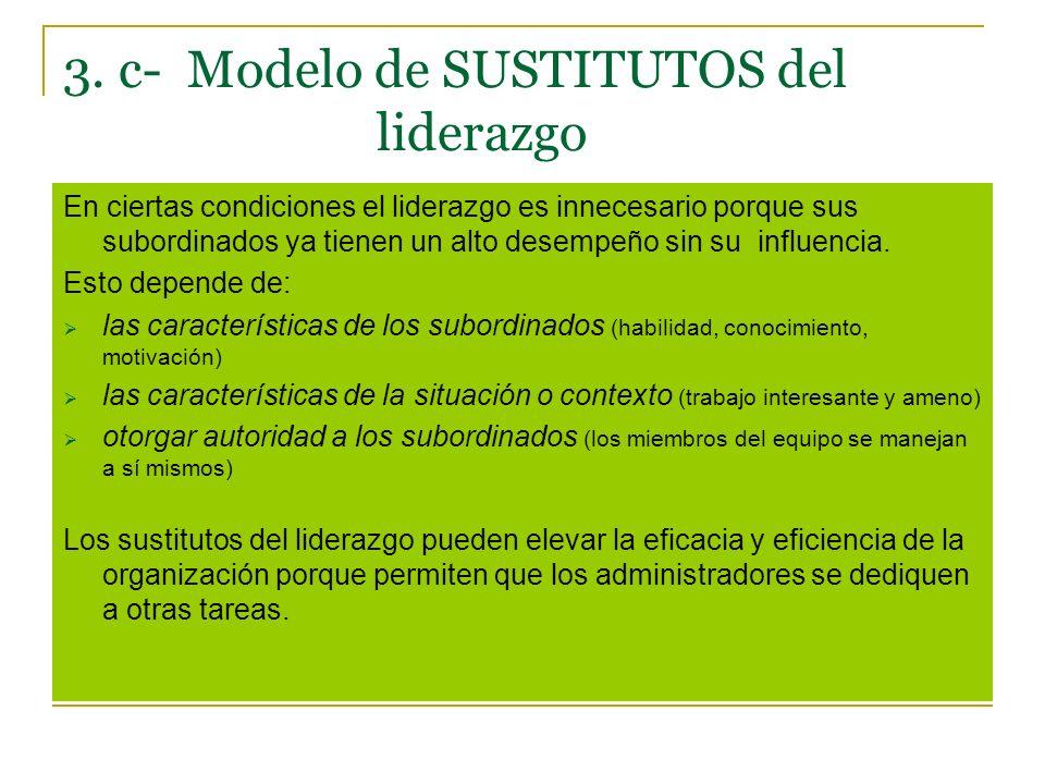 3. c- Modelo de SUSTITUTOS del liderazgo