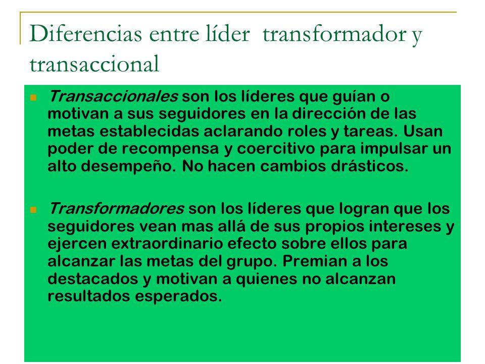 Diferencias entre líder transformador y transaccional