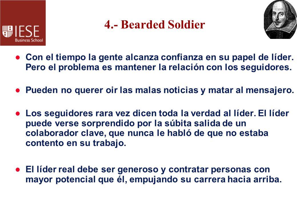 4.- Bearded Soldier Con el tiempo la gente alcanza confianza en su papel de líder. Pero el problema es mantener la relación con los seguidores.