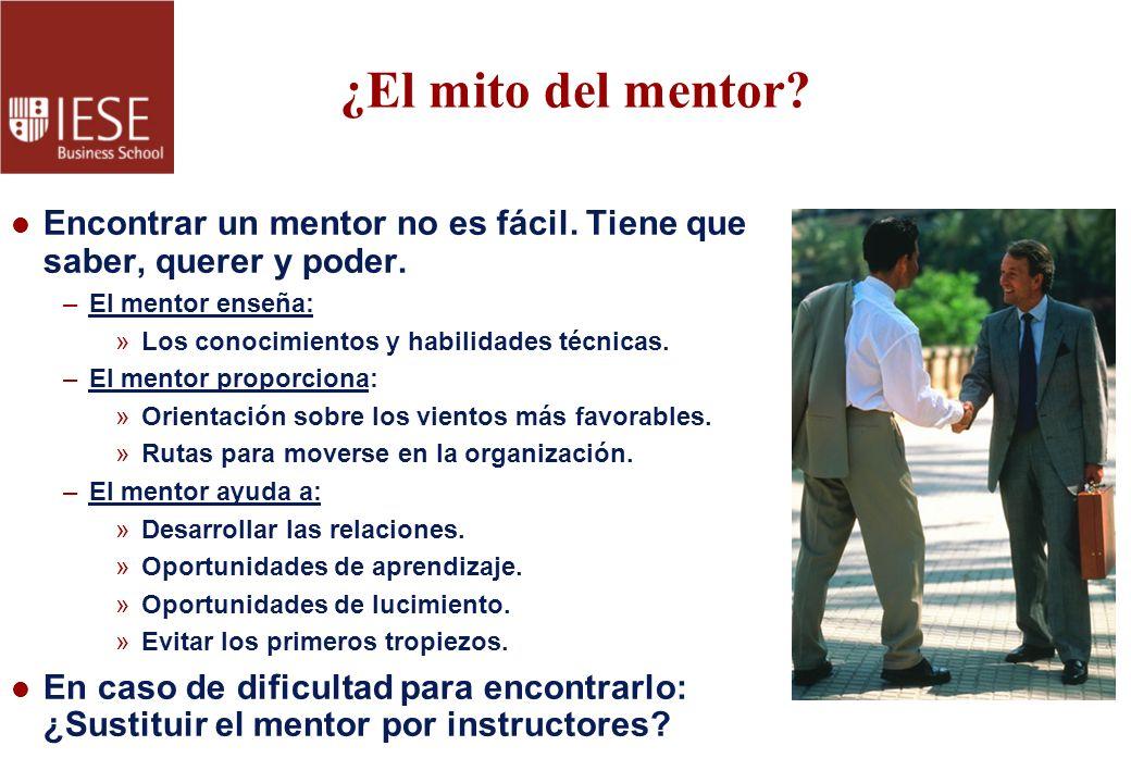 ¿El mito del mentor Encontrar un mentor no es fácil. Tiene que saber, querer y poder. El mentor enseña: