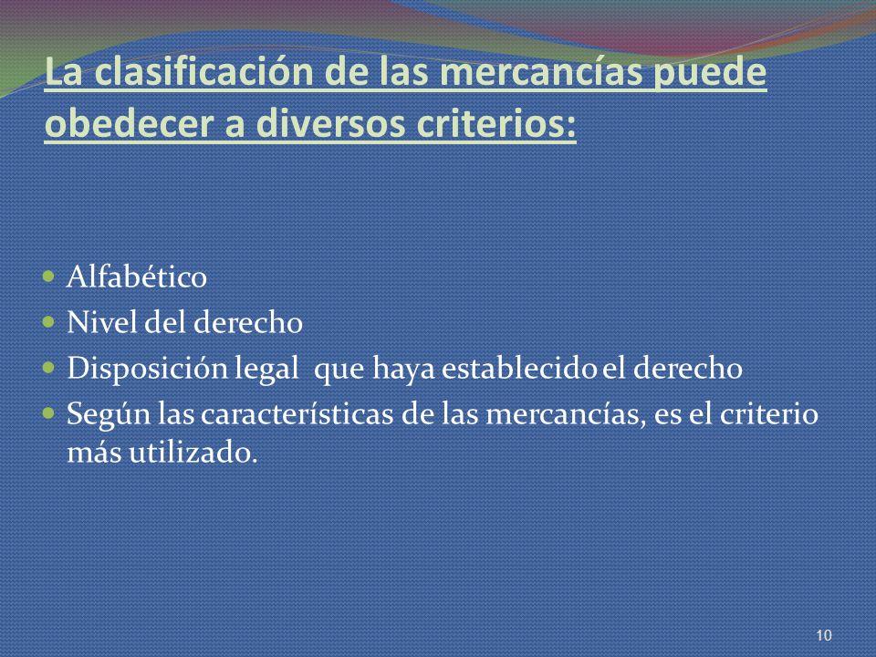 La clasificación de las mercancías puede obedecer a diversos criterios: