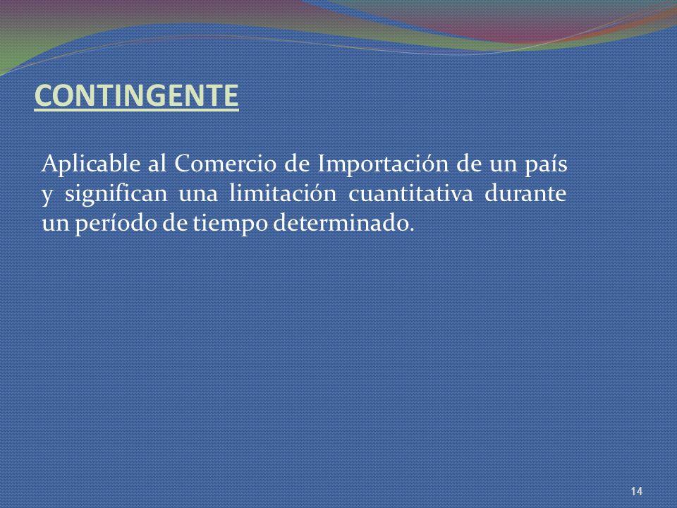 CONTINGENTE Aplicable al Comercio de Importación de un país y significan una limitación cuantitativa durante un período de tiempo determinado.