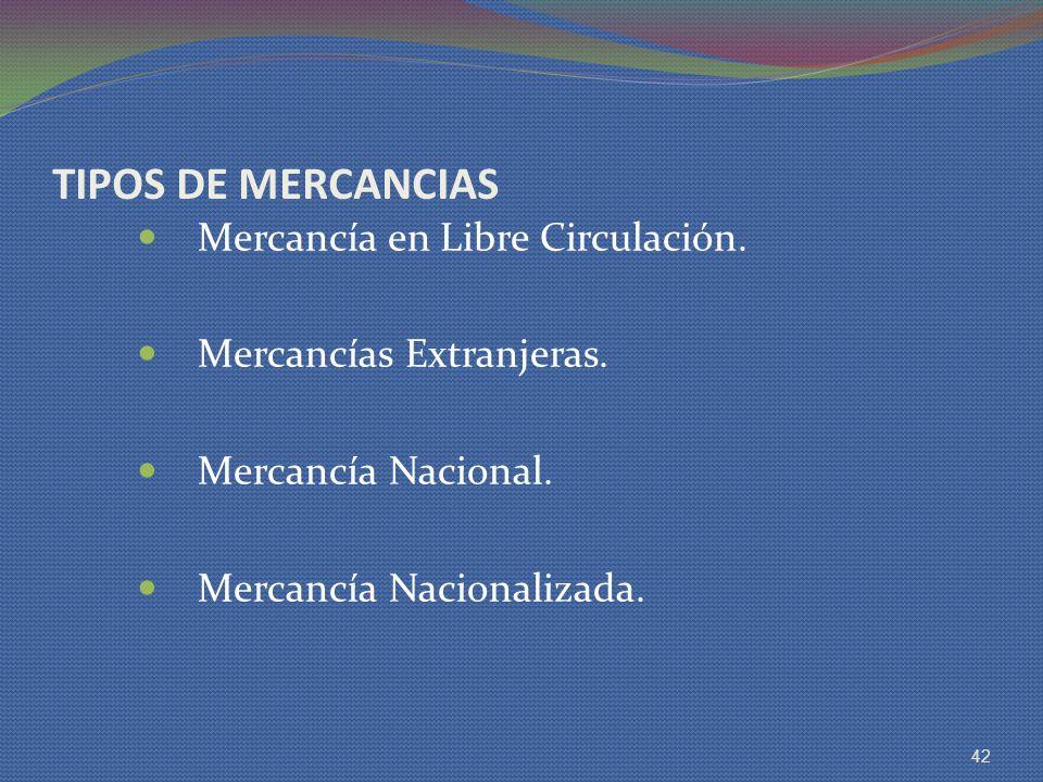 TIPOS DE MERCANCIAS Mercancía en Libre Circulación.