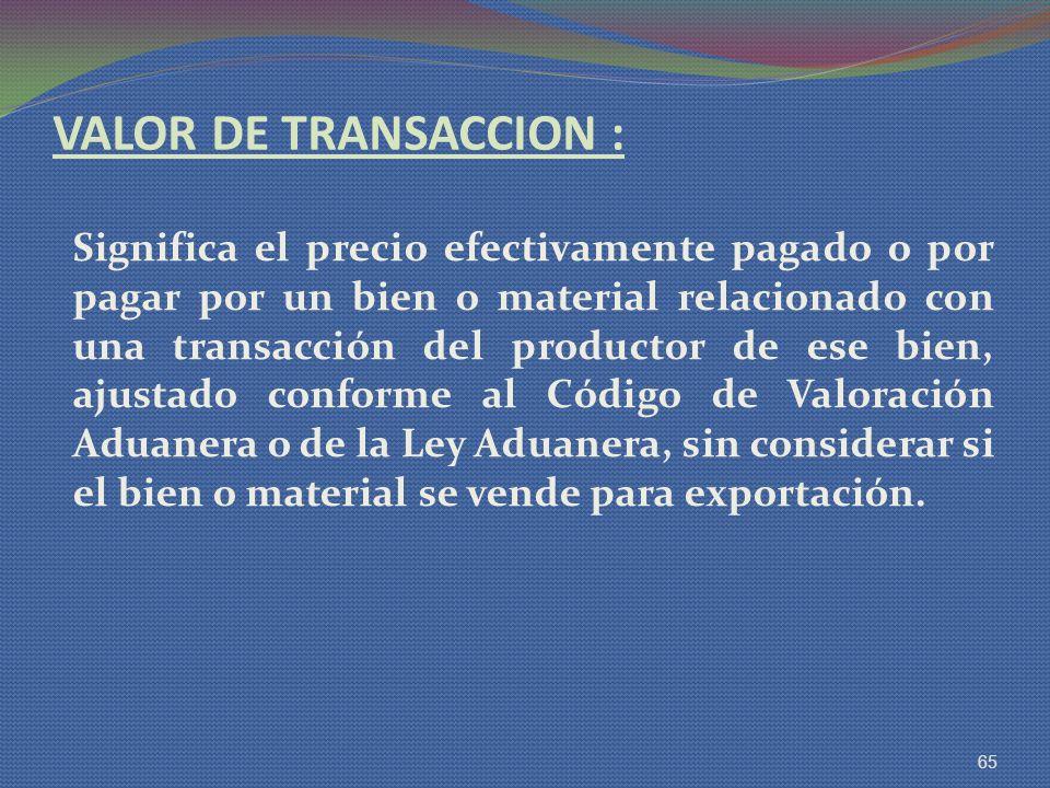 VALOR DE TRANSACCION :