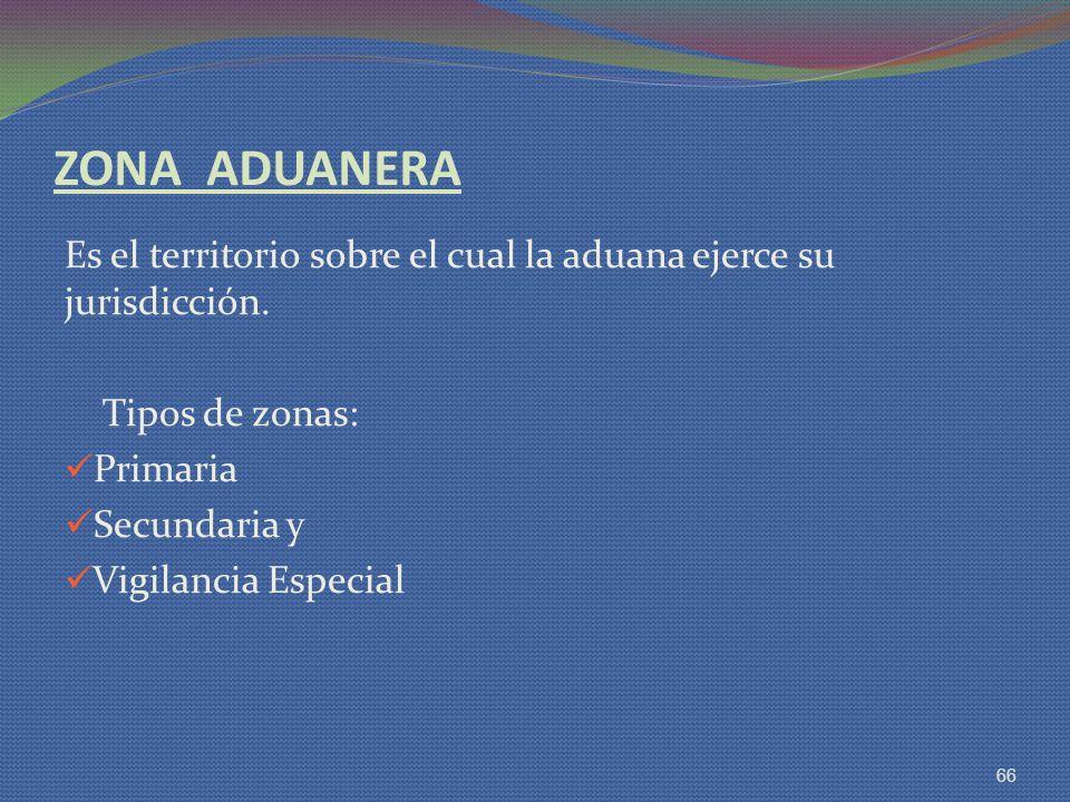 ZONA ADUANERA Es el territorio sobre el cual la aduana ejerce su jurisdicción. Tipos de zonas: Primaria.