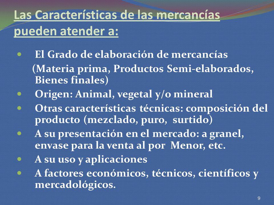 Las Características de las mercancías pueden atender a: