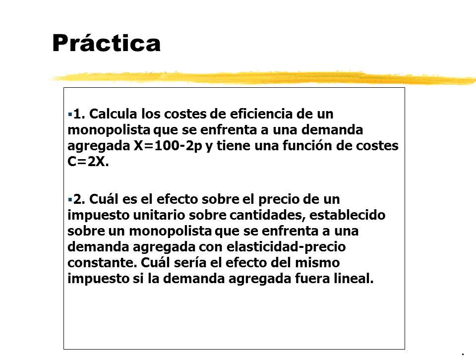Práctica 1. Calcula los costes de eficiencia de un monopolista que se enfrenta a una demanda agregada X=100-2p y tiene una función de costes C=2X.