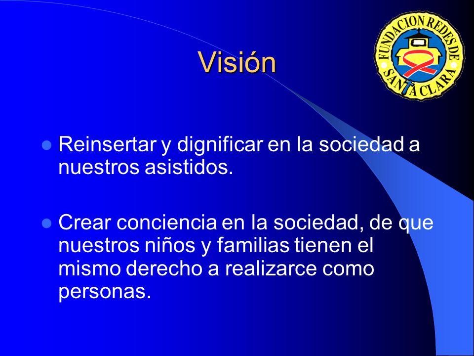 Visión Reinsertar y dignificar en la sociedad a nuestros asistidos.