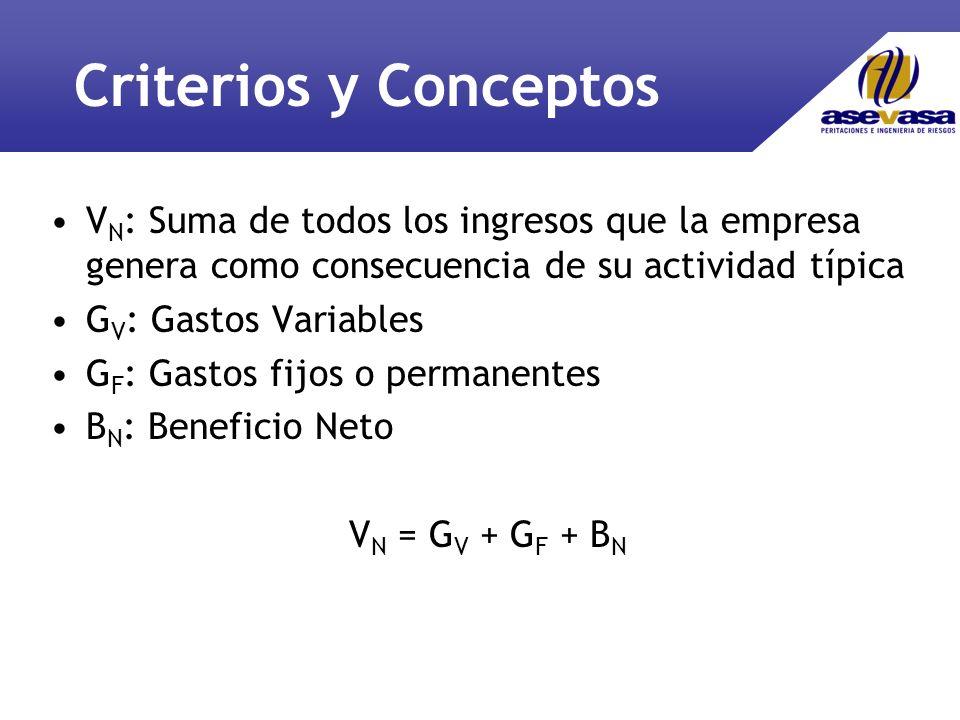 Criterios y Conceptos VN: Suma de todos los ingresos que la empresa genera como consecuencia de su actividad típica.