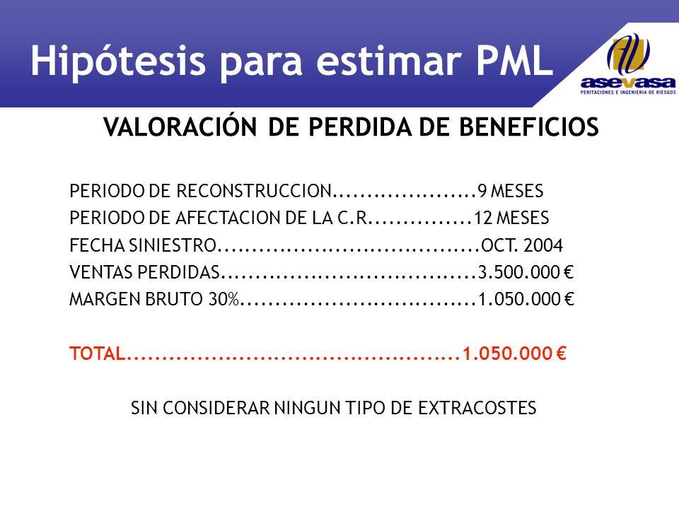 VALORACIÓN DE PERDIDA DE BENEFICIOS