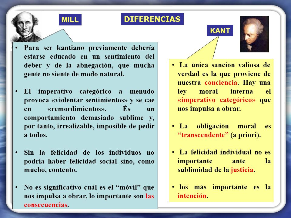 MILL DIFERENCIAS. KANT.