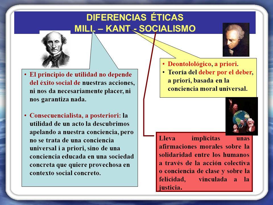 DIFERENCIAS ÉTICAS MILL – KANT - SOCIALISMO