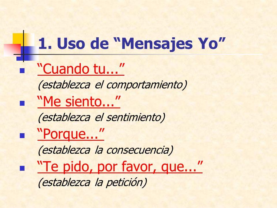 1. Uso de Mensajes Yo Cuando tu... Me siento... Porque...