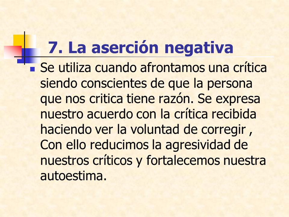 7. La aserción negativa