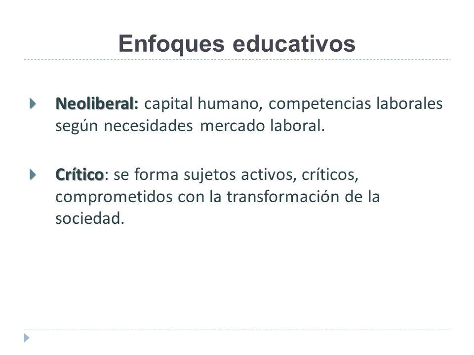 Enfoques educativos Neoliberal: capital humano, competencias laborales según necesidades mercado laboral.