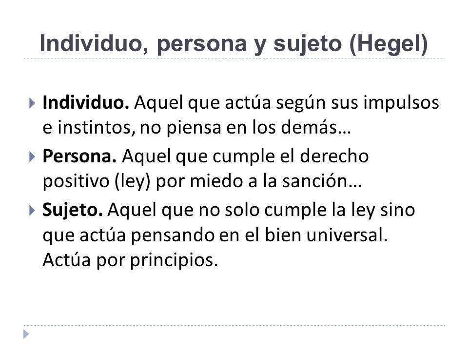 Individuo, persona y sujeto (Hegel)