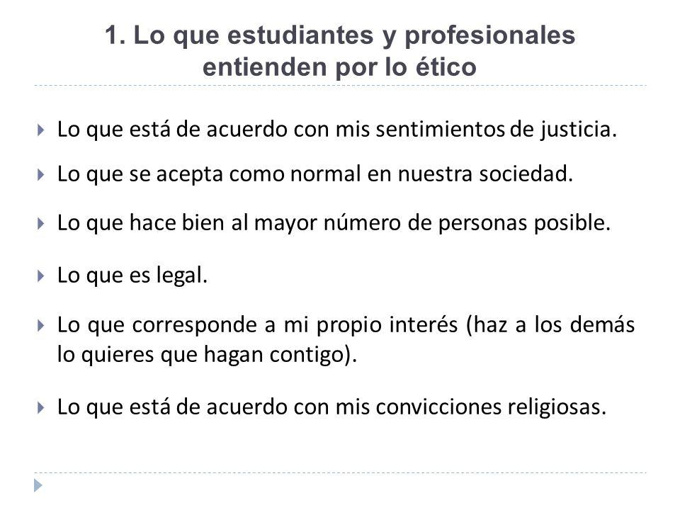 1. Lo que estudiantes y profesionales entienden por lo ético