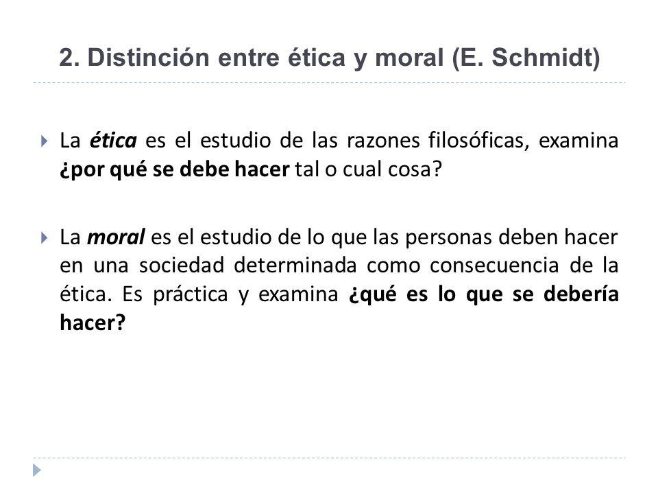 2. Distinción entre ética y moral (E. Schmidt)