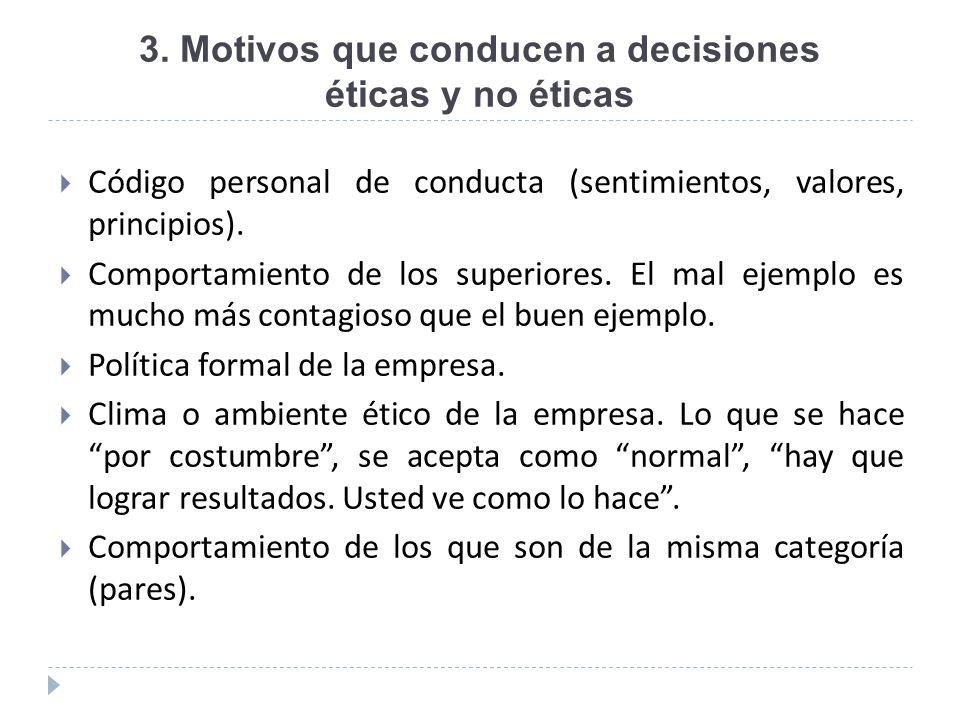 3. Motivos que conducen a decisiones éticas y no éticas