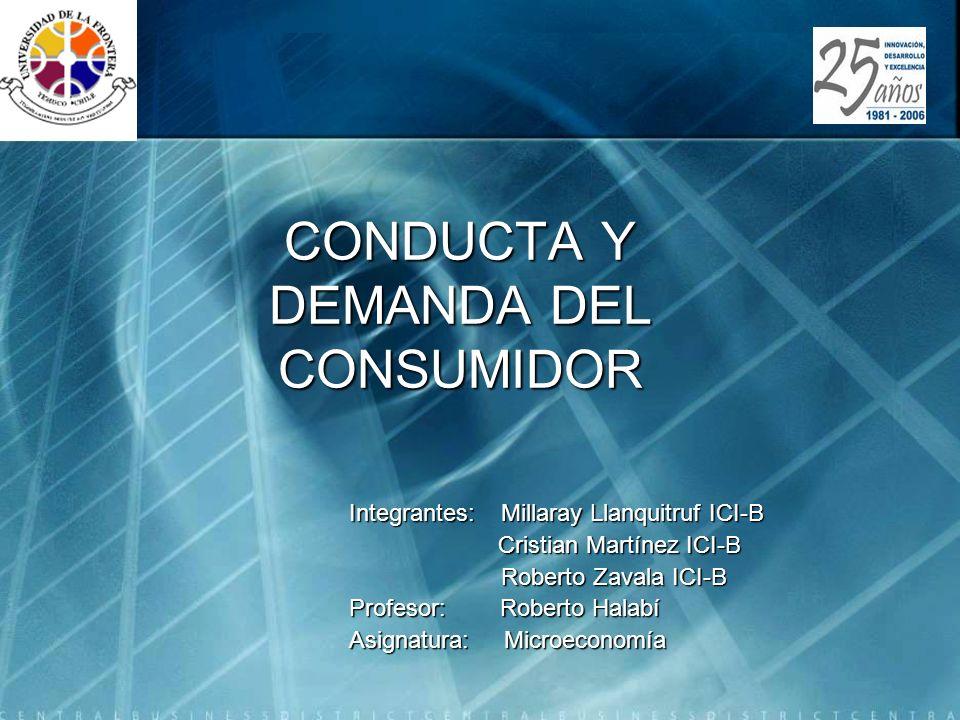 CONDUCTA Y DEMANDA DEL CONSUMIDOR