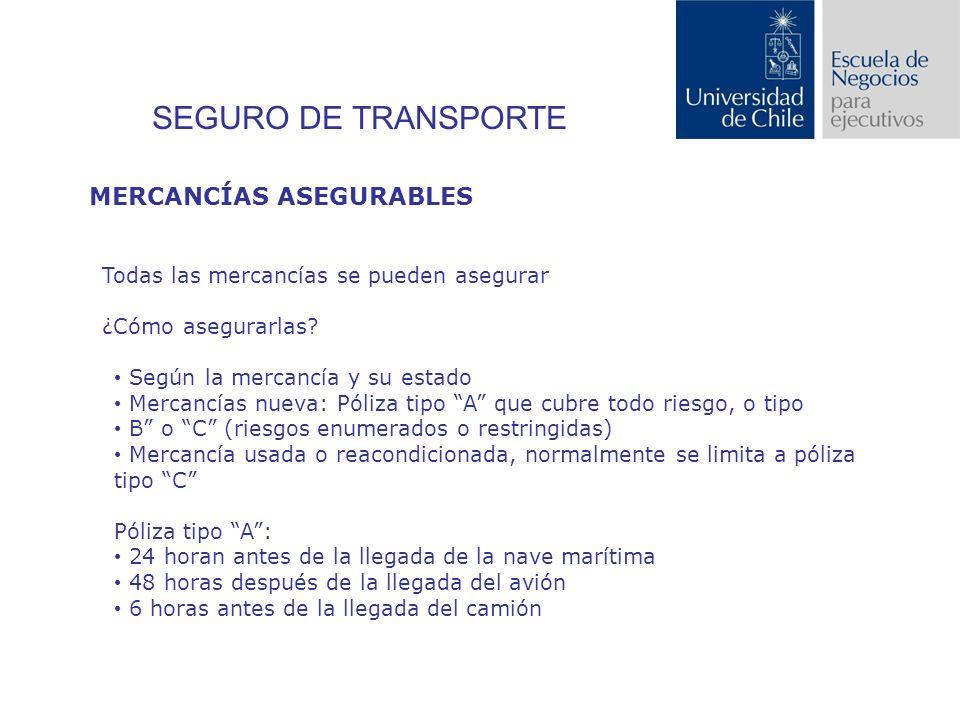 SEGURO DE TRANSPORTE MERCANCÍAS ASEGURABLES