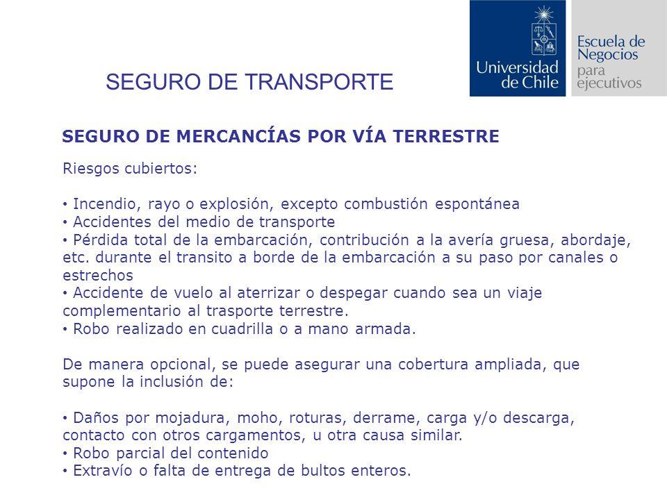 SEGURO DE TRANSPORTE SEGURO DE MERCANCÍAS POR VÍA TERRESTRE