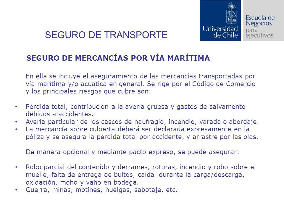 SEGURO DE TRANSPORTE SEGURO DE MERCANCÍAS POR VÍA MARÍTIMA