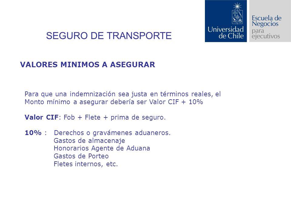 SEGURO DE TRANSPORTE VALORES MINIMOS A ASEGURAR