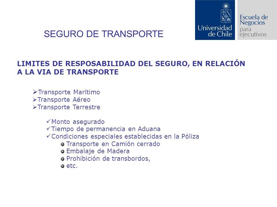 SEGURO DE TRANSPORTE LIMITES DE RESPOSABILIDAD DEL SEGURO, EN RELACIÓN